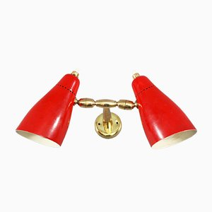 Italian Enameled Wall Sconces from Stilnovo, 1950s, Set of 2