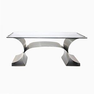 French Stainless Steel Coffee Table, 1970s
