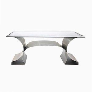 Mesa de centro de acero inoxidable de Francois Monnet, años 70