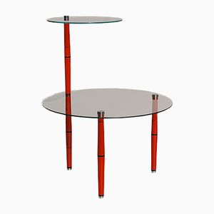 Mid-Century Italian Glass Side Table with Red Legs