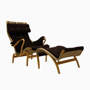 Swedish Pernilla Easy Chair & Ottoman by Bruno Mathsson for Dux, 1960s