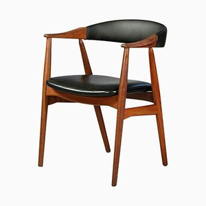 213 Armchair in Teak and Black Leatherette by Th. Harlev for Farstrup Møbler, 1960s
