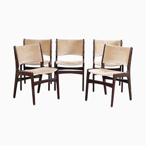 Dining Chairs in Solid Teak and Grey Velvet by Erik Buch for Odense Maskinsnedkeri, 1950s, Set of 5
