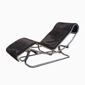 Chaise longue de piel de poni y metal cromado de Guido Faleschini, años 70