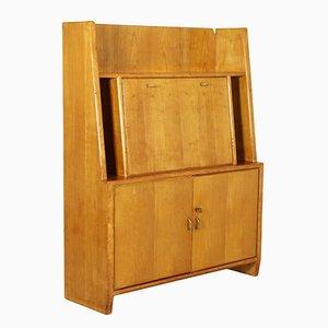 Secreter italiano vintage de madera de arce y latón de Osvaldo Borsani