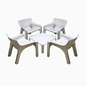 Vintage Vicario Sitzgruppe mit Tisch von Vico Magistretti für Artemide Milano, 5er Set