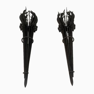 Vintage French Iron Torch Wall Sconces, Set of 2
