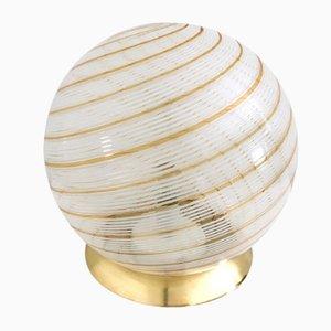 Lámpara de mesa esférica de cristal de Murano y latón, años 70