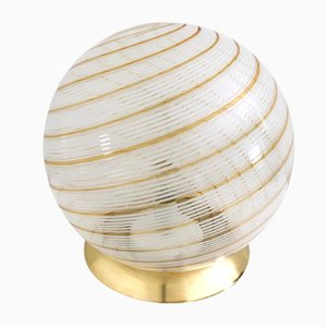 Spherical Murano Glass and Brass Table Lamp, 1970s