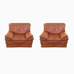 Italian Leather Armchairs from Colombo Mobili, 1970s, Set of 2