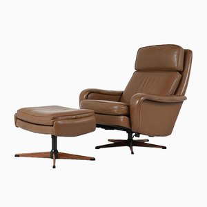 Vintage Leather Lounge Chair and Ottoman, 1960s