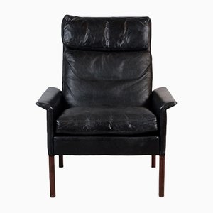 Rosewood Armchair in Black Leather by Hans Olsen for CS Mobelfabrik, 1960s
