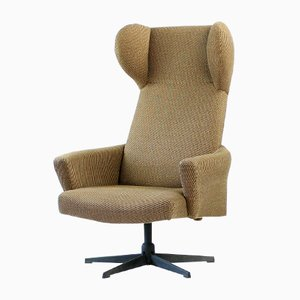 Czechoslovakian Swivel Wingback Chair in Brown Fabric, 1970s