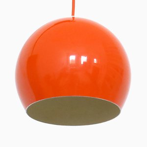 Danish Space Age Bubble Pendants in Bright Orange, 1960s, Set of 2