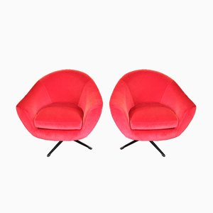 Vintage Velvet Swivel Lounge Chairs, 1960s, Set of 2