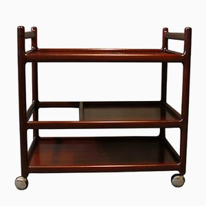 Serving Trolley in Mahogany by Johannes Andersen for CFC Silkeborg, 1960s