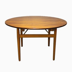 Round Teak and Oak Dining Table with Extensions by Hans J. Wegner, 1960s