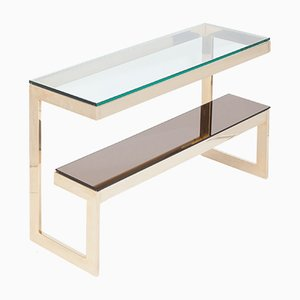 Table Console à 2 Niveaux Revêtue d'Or par Belgo Chrom/ Dewulf Selection