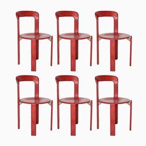 Rote Vintage Esszimmerstühle von Bruno Rey für Kusch & Co, 6er Set