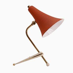 Lampada da tavolo vintage tripode con paralume arancione