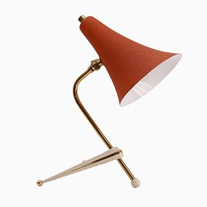 Lámpara de mesa trípode vintage con pantalla naranja