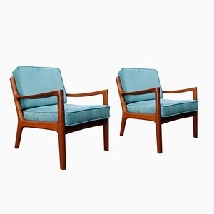 Mid-Century Danish 166 Senator Armchairs by Ole Wanscher for Cado, Set of 2