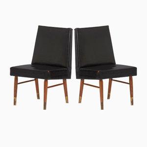 Schwarze Vintage Lederstühle, 2er Set