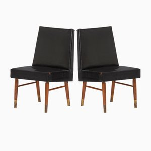 Vintage Black Leather Chairs, Set of 2