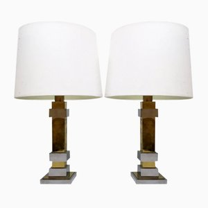 Chrome and Brass Table Lamps, 1970s, Set of 2