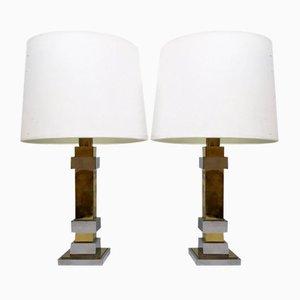 Lámparas de mesa de cromo y latón, años 70. Juego de 2