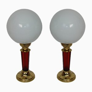 Brass Table Lamps, 1940s, Set of 2