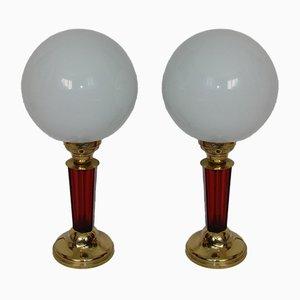 Lampade da tavolo in ottone, anni '40, set di 2