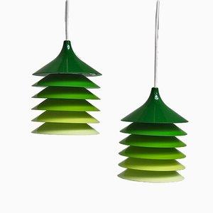 Grüne Duett Hängelampen von Bent Gantzel Boysen für Ikea, 1970er, 2er Set