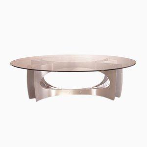 Tavolino da caffè vintage in alluminio e vetro