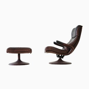 Vintage Leather Lounge Chair with Stool from de Sede