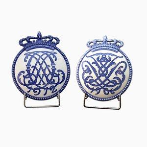 Platos de coronación antiguos de Arnold Krog para Royal Copenhagen. Juego de 2