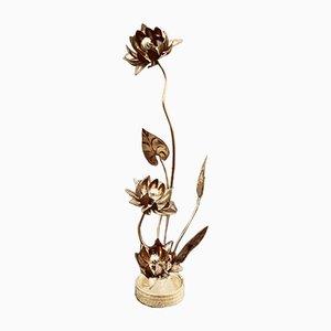 Lámpara de mesa vintage con flores de latón