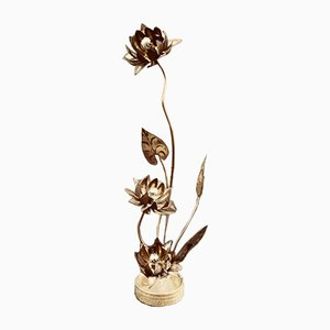 Vintage Flower Table Lamp in Brass