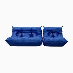 Vintage Togo Sofa Set aus Blauer Mikrofaser von Michel Ducaroy für Ligne Roset, 1970er