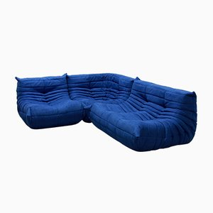 Vintage Blue Microfibre Togo Sofa Set by Michel Ducaroy for Ligne Roset, 1970s