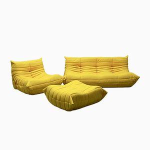 Vintage Togo Sofa Set aus Gelber Mikrofaser von Michel Ducaroy für Ligne Roset, 1970er