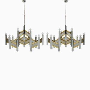 Lampes à Suspension Concorde par Gaetano Sciolari, 1970s, Set de 2