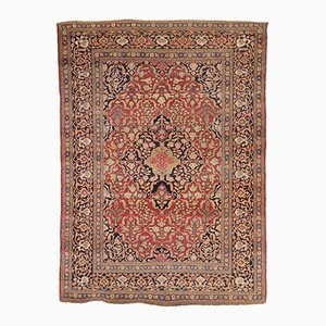 Antique Keshan Rug with Leaves and Flowers, 1900s