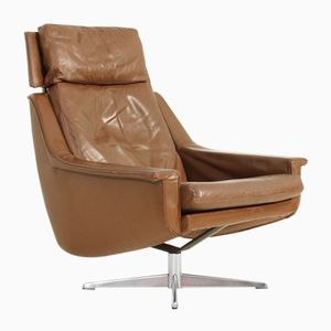 Model 802 Leather Swivel Chair by Werner Langenfeld for ESA, 1970s