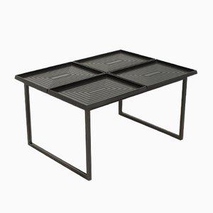 Tavolino da caffè geometrico con vassoi rimovibili, anni '80