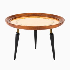 Italian Mid-Century Modern Fruitwood Coffee Table with Inlay, 1950s