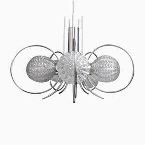 Lámpara de techo era espacial cromada con vidrio geométrico, años 70