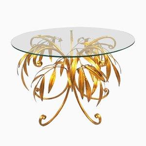 Tavolino da caffè Mid-Century con base a forma di palma dorata di Hans Kögl