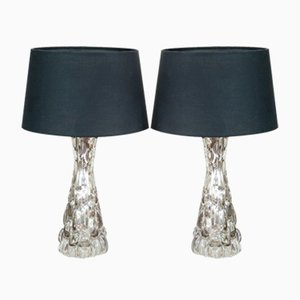 Small Croco Relief Glass Lamps by Carl Fagerlund for Orrefors, 1960s, Set of 2