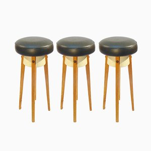 Vintage Scandinavian Bar Stools in Oak and Imitation Leather, Set of 3